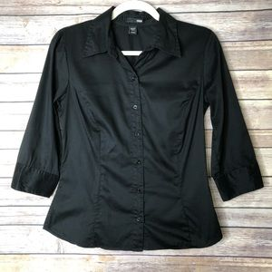 H&M Button down black blouse ¾ sleeve 4